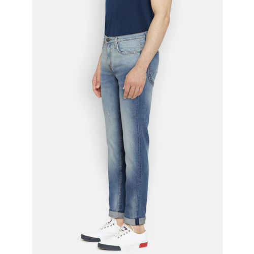 Lee Men Blue Bruce Skinny Fit Mid-Rise Low Distress Stretchable Jeans