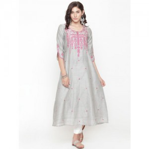 Varanga Women Grey & White Embroidered Kurta with Trousers