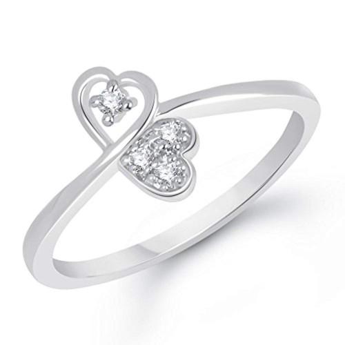 V. K. Jewels Silver Rhodium Plated Heart Festive Ring
