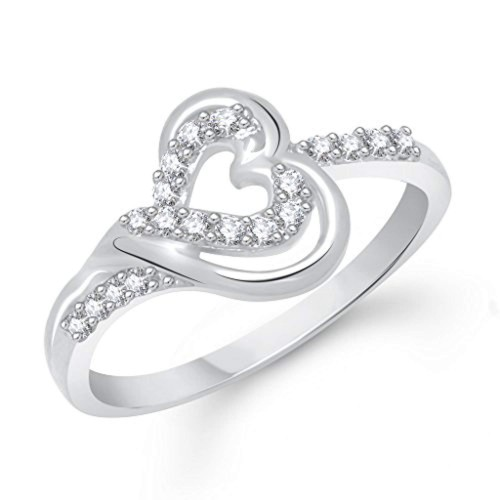 V. K. Jewels Silver Rhodium Plated Heart Wedding Ring