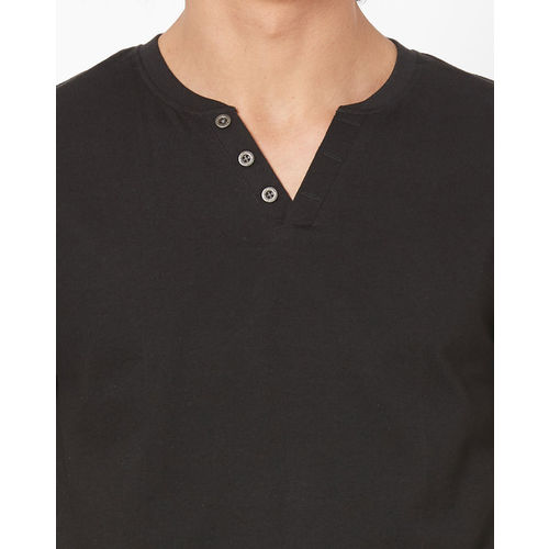 CHROMOZOME Cotton T-shirt with Notched Neckline