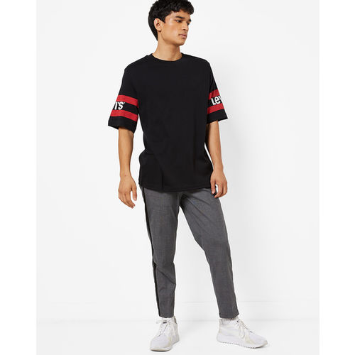 Levis Black Cotton Striped Loose Fit Round Neck T-Shirt