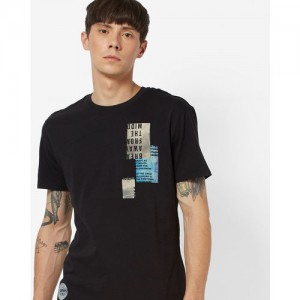 LEVIS Black Cotton Crew-Neck T-shirt with Placement Print