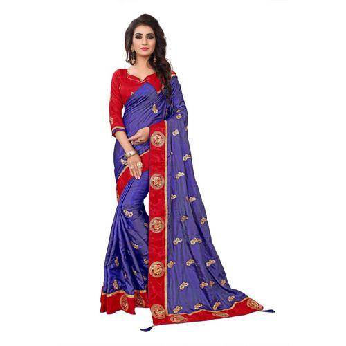 521182ddadcef2 Buy Kuki Embroidered Fashion Georgette, Cotton, Silk Saree(Blue, Red) online  | Looksgud.in