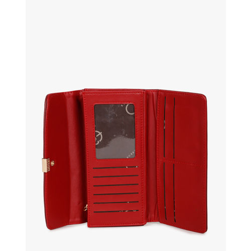 E2O Red Textured Tri-Fold Wallet