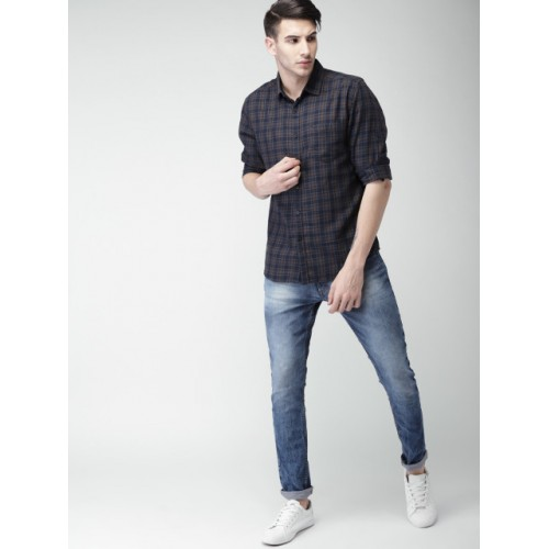 HIGHLANDER Navy & Brown Cotton Slim Fit Checked Casual Shirt