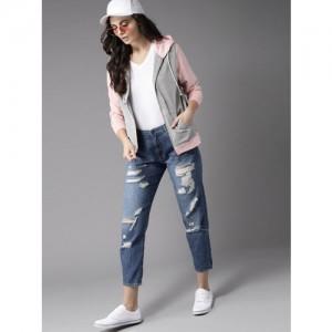 Moda Rapido Women Grey Melange Solid Hooded Sweatshirt