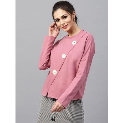 SASSAFRAS Dusty Pink Polyester Layered Solid Sweatshirt