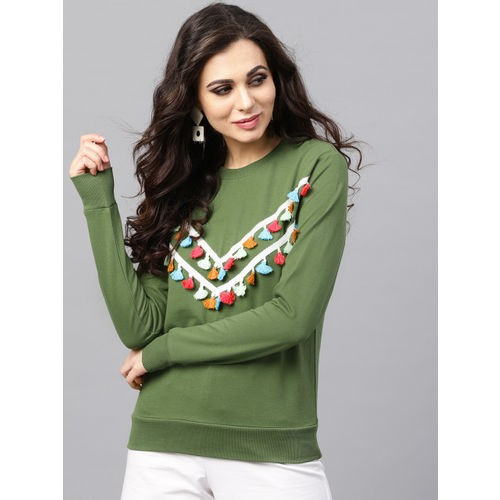 SASSAFRAS Women Olive Green Solid Tasselled Sweatshirt