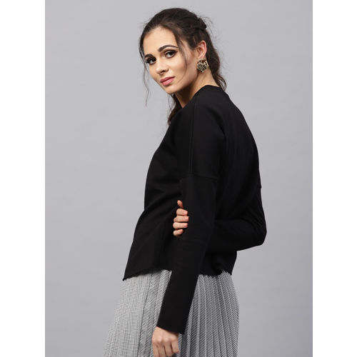 SASSAFRAS Women Black Solid Wrap Sweatshirt