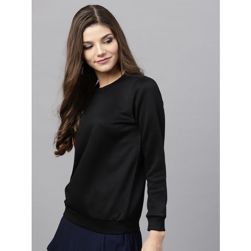 SASSAFRAS Women Black & Red Applique Detail Sweatshirt