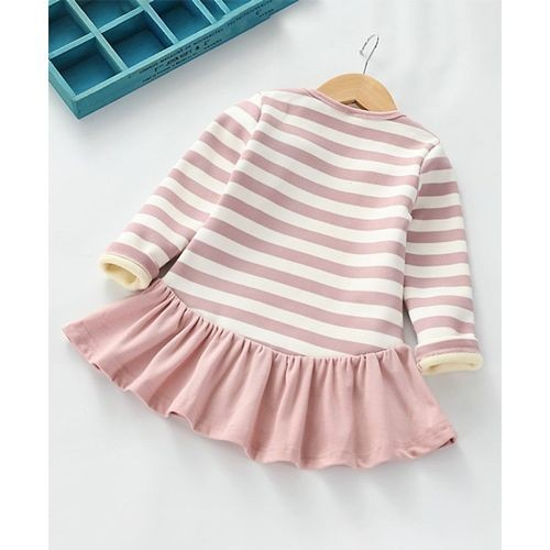 Awabox Pink & White Cotton Striped Full Sleeves Dress