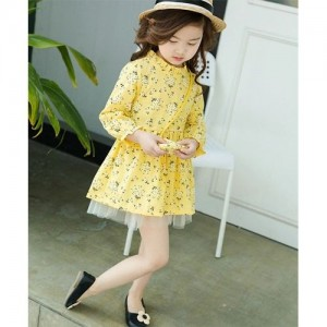Awabox Yellow All Over Floral Print Full Sleeves Dress