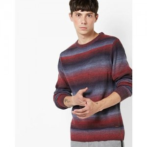 AJIO Knitted Striped Pullover with Ribbed Hems