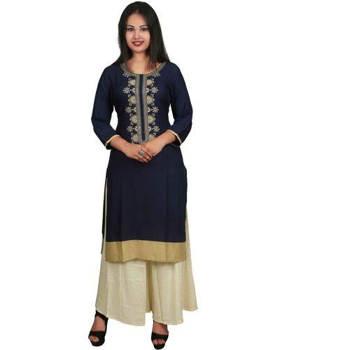 Shalimar Women's Embroidered Straight Kurta(Blue)