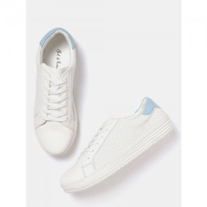 Mast & Harbour Women White Perforated Sneakers