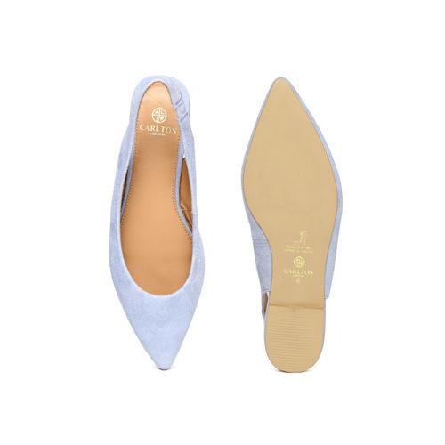 Carlton London Women Blue Solid Suede Flats