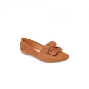 Flat n Heels Women Brown Suede Ballerinas