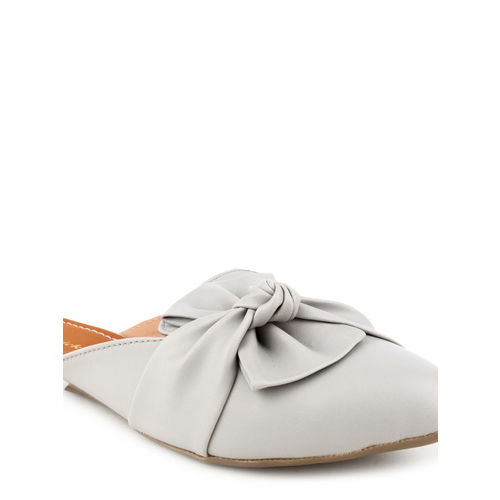 Lovely Chick Women Grey Solid Synthetic Mules