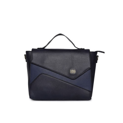 AND Navy Blue Colourblocked Satchel