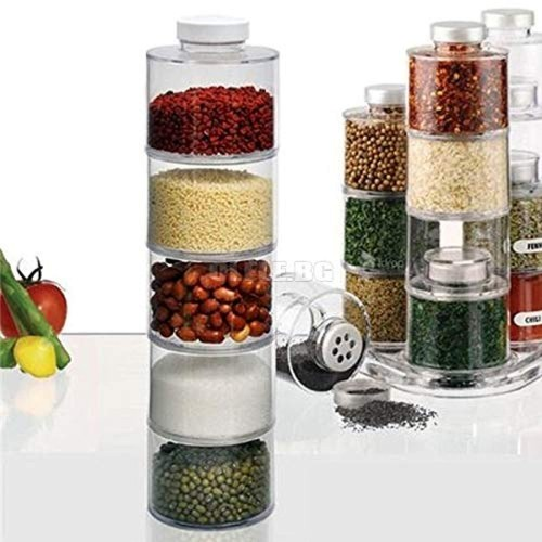 ORPIO 6 Bottle Plastic Stackable Spice Rack Carousel Spice Tower Rack with Lids
