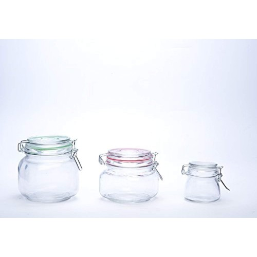 Protetto 600ml (Set of 4) - Air Tight Jar/Stainless Steel Clamp Lid & Silicone Seal Kitchen Storage Jar with Air Tight Seal for Food