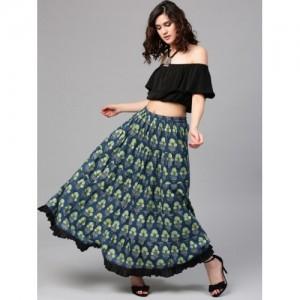 AKS Blue & Green Floral Print Maxi Lightweight Skirt