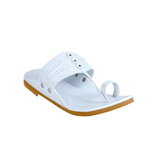Panahi White Synthetic Leather Chappals for Men