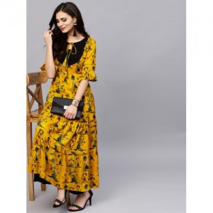 Ives Mustard Yellow & Black Rayon Printed Tiered Anarkali Kurta