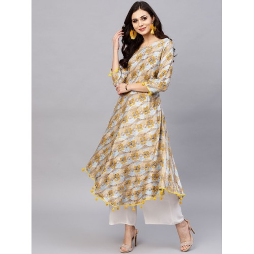 Ives Blue & Yellow Printed A-Line Kurta