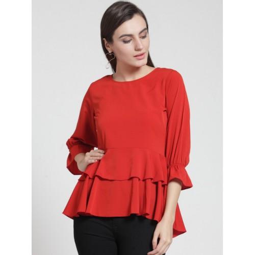fe6b238ca2c Buy plusS Women Red Polyester Solid Tiered Top online | Looksgud.in