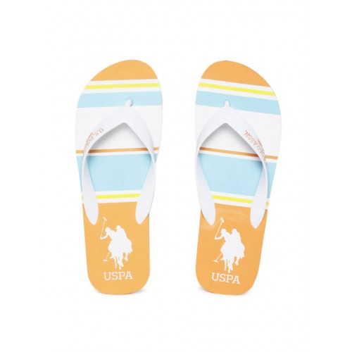 U.S. Polo Assn. Men White & Orange Striped Thong Flip-Flops