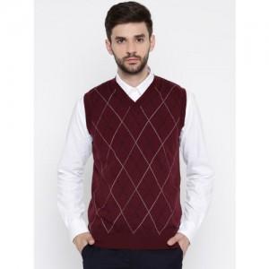 Raymond Men Maroon Patterned Woollen Sweater Vest