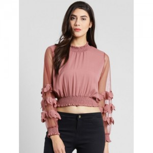 plusS Peach-Coloured Polyester Self Design Blouson Top