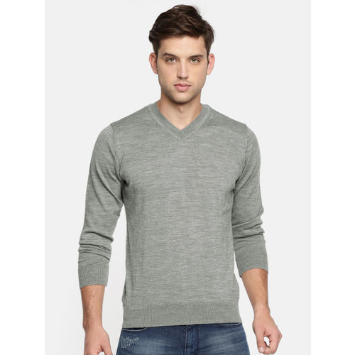 Raymond Men Grey Woolen Solid Pullover