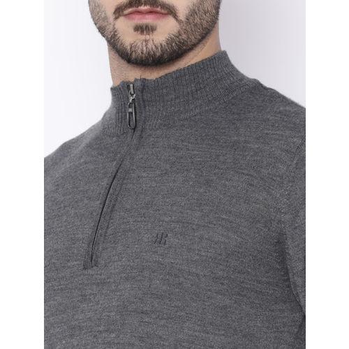Raymond Men Grey Solid Pullover
