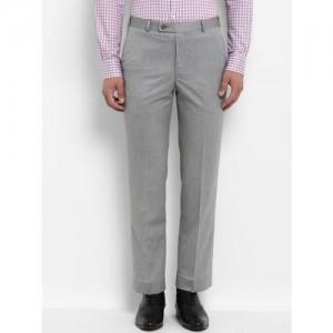 Park Avenue Men Grey Regular Fit Solid Formal Trousers