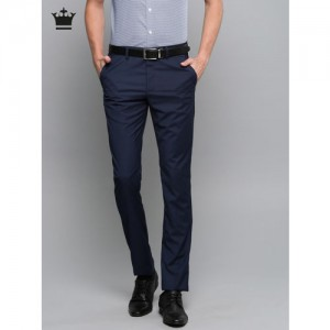 Louis Philippe Men Navy Blue Super Slim Fit Solid Formal Trousers