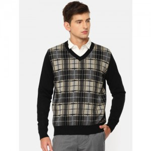 Raymond Men Black Checked Pullover Sweater