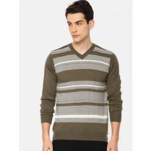 Raymond Men Brown Striped Pullover