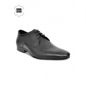 Allen Cooper Men Black Textured Leather Formal Derbys