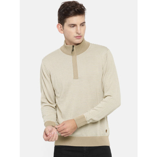 Raymond Men Beige Striped Pullover