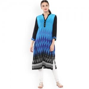 Bhama Couture Women Blue Printed Straight Kurta