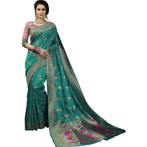 Aashvi Creation Self Design Kanjivaram Banarasi Silk, Jacquard, Cotton Silk, Art Silk Saree(Green)