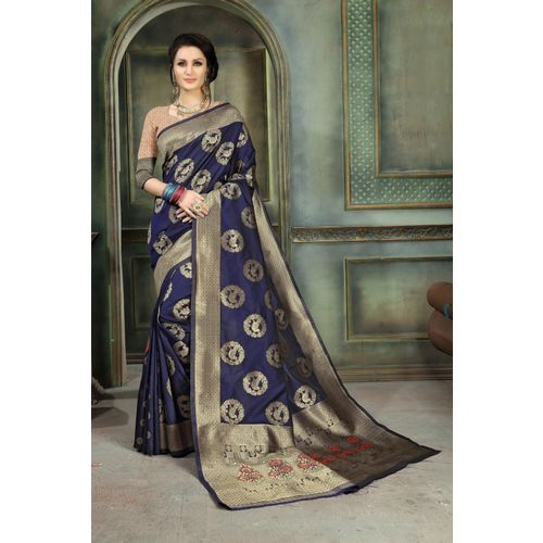 Aashvi Creation Solid, Animal Print Banarasi Jacquard, Cotton Silk, Art Silk, Kota Silk Saree(Dark Blue)