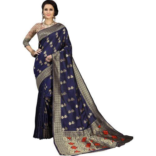 Aashvi Creation Self Design Kanjivaram Banarasi Silk, Jacquard, Cotton Silk, Art Silk Saree(Dark Blue)