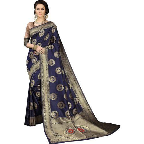 Aashvi Creation Printed Kanjivaram Banarasi Silk, Jacquard, Cotton Silk, Art Silk Saree(Dark Blue)