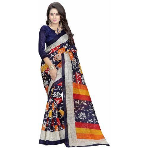 Ishin Printed Bollywood Art Silk Saree(Blue)