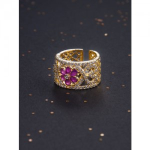 Rubans Gold-Toned & Red Gold-Plated Handcrafted Ring