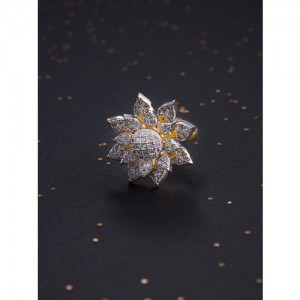 Rubans Gold-Toned CZ-Studded Gold-Plated Handcrafted Ring